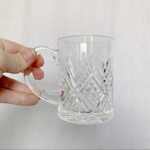Vintage // Clear Glass Crosshatch Patterned Mug